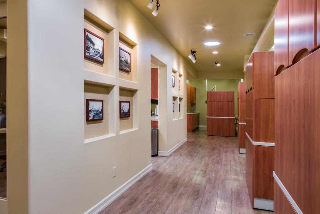 Hallway leading to operatories at Smiles LA